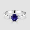 Sapphire and diamond 3 stone ring