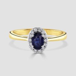 18ct oval sapphire diamond cluster ring