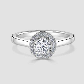 Halo single stone diamond ring