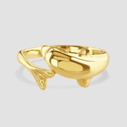 14ct yellow gold dolphin ring