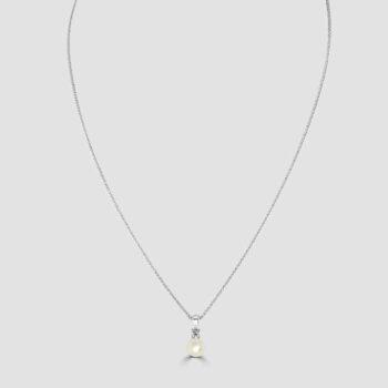 Cultured pearl & diamond pendant