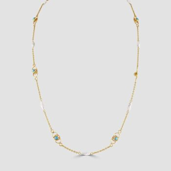 9ct Turquoise and freshwater pearl necklace