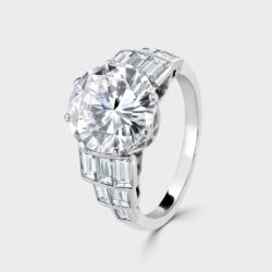 Large Single stone diamond ring with baguette shoulders