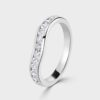Platinum curved diamond ring.
