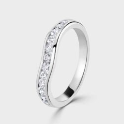 Platinum curved diamond ring.