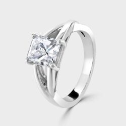 Platinum radiant cut diamond ring.
