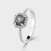 18ct white gold rough cut diamond ring