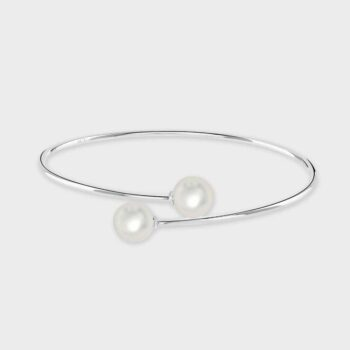 White gold cultured pearl bangle
