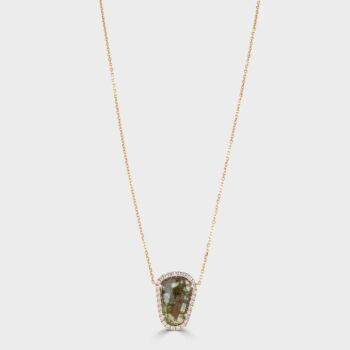 Rose gold sapphire and diamond pendant