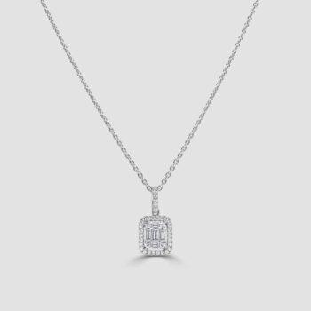 Clever baguette diamond pendant
