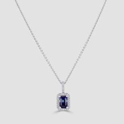 18ct White gold Emerald cut sapphire and diamond pendant