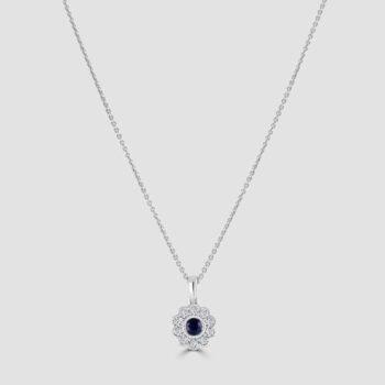 Pretty mill grained edged sapphire pendant