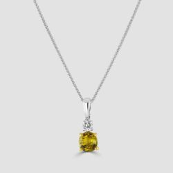 Yellow sapphire and diamond pendant