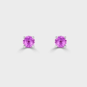 18ct White gold pink sapphire stud earrings