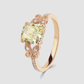 18ct fancy yellow diamond ring