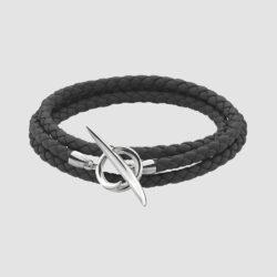Silver Quill Black Leather Wrap Bracelet