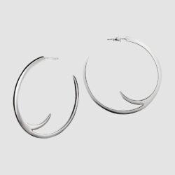 Silver Cat Claw Large Hoop Earrings