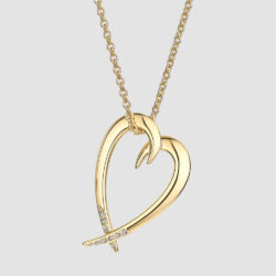 Yellow Gold Vermeil Diamond Hooked Heart Pendant