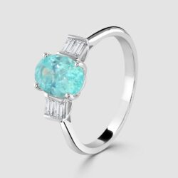 18ct Paraiba Tourmaline and diamond ring